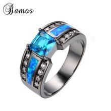 2015 Summer fashion Opal rings Blue fine jewelry 14KT Black