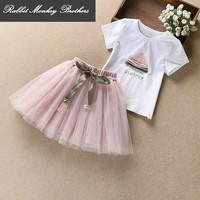 Baby Girl Summer Set New Fashion Sweet Lovely Watermelon Pattern T Shirt Net Yarn Skirt Two
