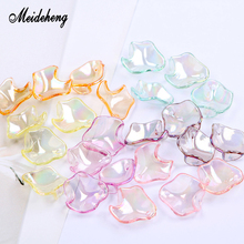 AB color Acrylic Peony Petals transparent Color plating beads Small lotus leaf Handmade Jewelry Accessories ornament design