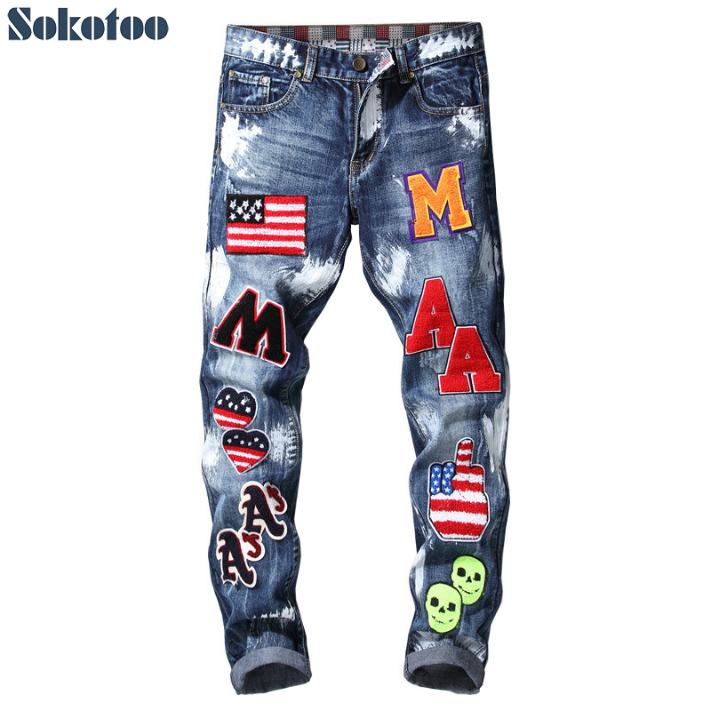 Sokotoo Men's American flag badge patches blue denim jeans Slim fit straight letters painted long pants Trousers