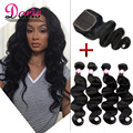 Brazilian Virgin Hair With Closure 3 or 4 Bundles Tissage Bresilienne Avec Closure Queen Hair Brazilian Body Wave With Closure