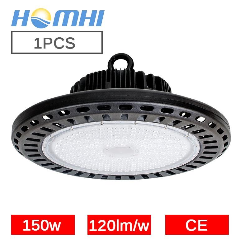 LED haute bay UFO lumière 150 w noir circulaire lampe lumière jaune blanc entrepôt supermarché stock 110 v 220 v frais généraux luminaire