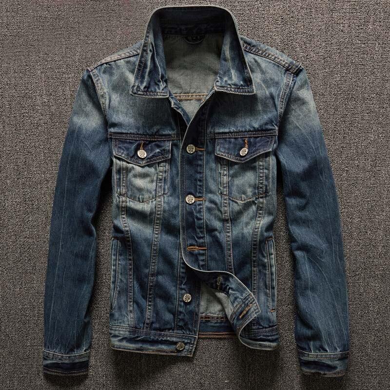 2018 Autumn Ripped Jeans Jacket Men Fashion Slim Fit Long Sleeve Denim Jackets Men Casual Turn Down Collar Coat Male 5XL-S Blue armani aj men s slim fit designer denim jeans 06j834h