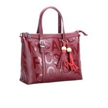 Caker Brand 2017 Women Press Letter Genuine Leather Tote Bag Large Big Shoulder Bag Fashion Tassel Crossbody Bags Contrast Color