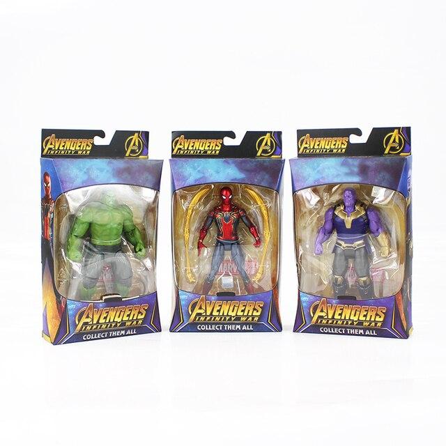 17 cm Vingadores Thanos 3 Caráter Infinito Guerra Ferro Homem Aranha Spiderman PVC Action Figure Modelo Coleção Toy Boneca Móvel