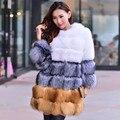 Novo inverno real da pele de raposa casaco de pele de raposa de prata raposa Finlândia atingiu a cor vermelha de pele de raposa casaco longa seção de sexo feminino beleza virou