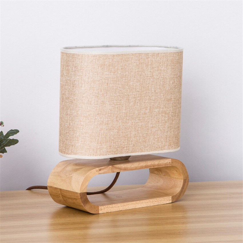 Modern Wood Table Lamp Fashion Cloth Lampshade Table Lights For
