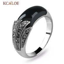 KCALOE Black Natural Stone Women Rings Vintage Retro Jewellery Antique Silver Color Crystal Rhinestone Brand Ladies Rings