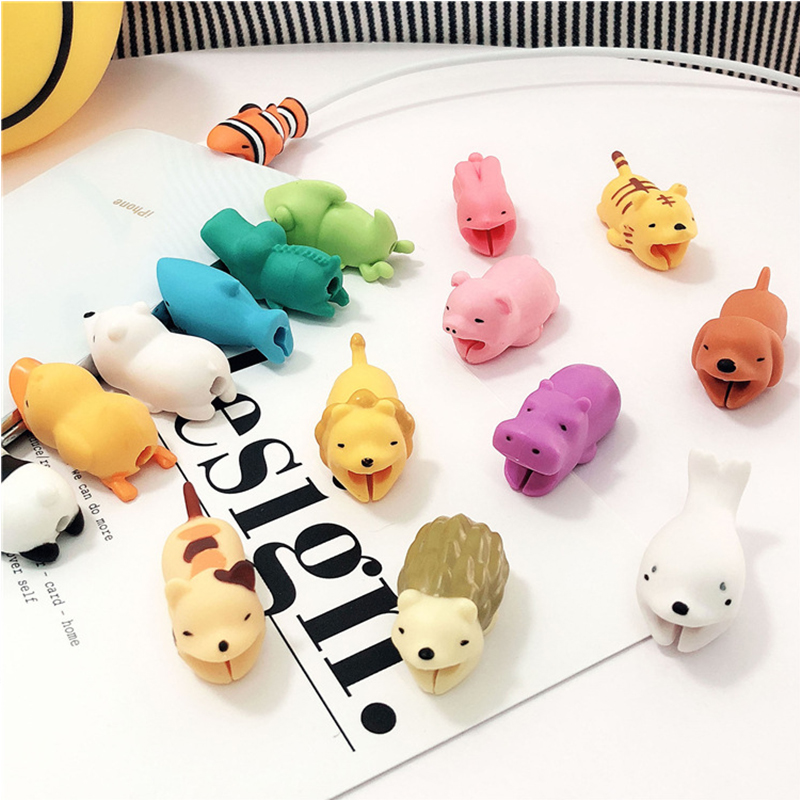 Cute Lion Cable Bite For iPhone 7 Plus 8 6S Plus Animal Bite Lovely Winder For Samsung S8 Plus Note 8 Cover Lightning Protection in Holsters Clips from Cellphones Telecommunications