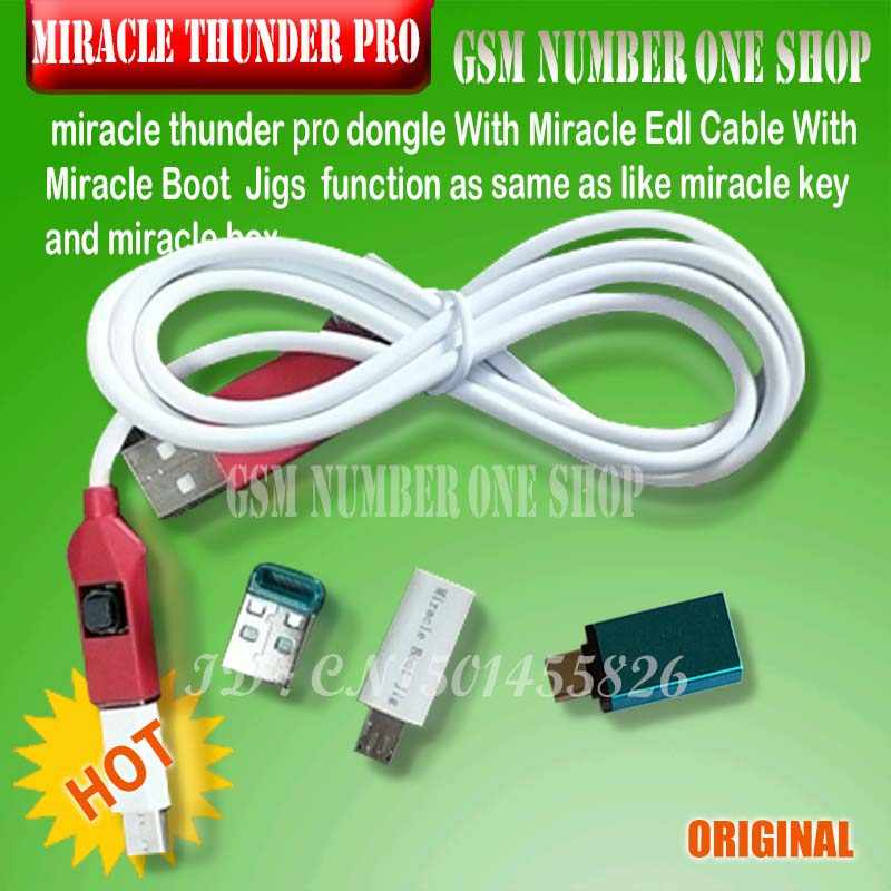 NEW Miracle Thunder pro dongle SET edl cable & miracle boot jiG Emmc  Solution FRP Flash Generic mode no need Miracle Box/Key