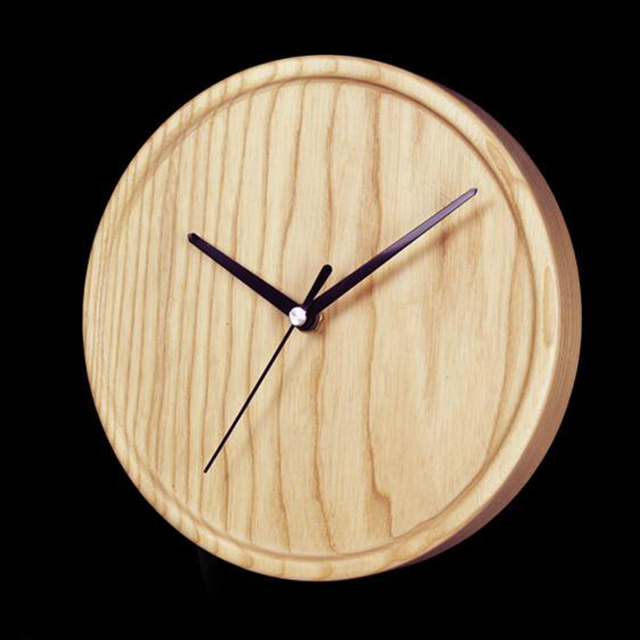 PINJEAS wooden clock natural wall round clock (8 inch)  Modern style rustic wall clock minimal wall clock eco friendly design