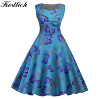 Kostlich Butterfly Print Autumn Dress Women 2017 Blue Audrey Hepburn 50s Vintage Dress Swing Rockabilly Elegant