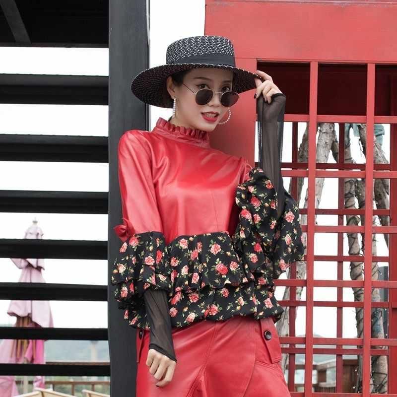 2019 женское Новое тонкое пальто из овечьей кожи с воротником-стойкой, модная шифоновая рубашка в стиле пэчворк с длинным рукавом из овчины