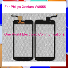1pcs/lot 5.0″ Black For Philips Xenium W8555 CTW8555 Touch Screen Touch Panel Digitizer Sensor Front Glass Lens Tracking Code