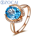 ZOCAI Genuino 3.0 Ct Real Topaz 0.16 Ct diamond18K rose oro real W06195 diente conjunto de compromiso anillo de boda