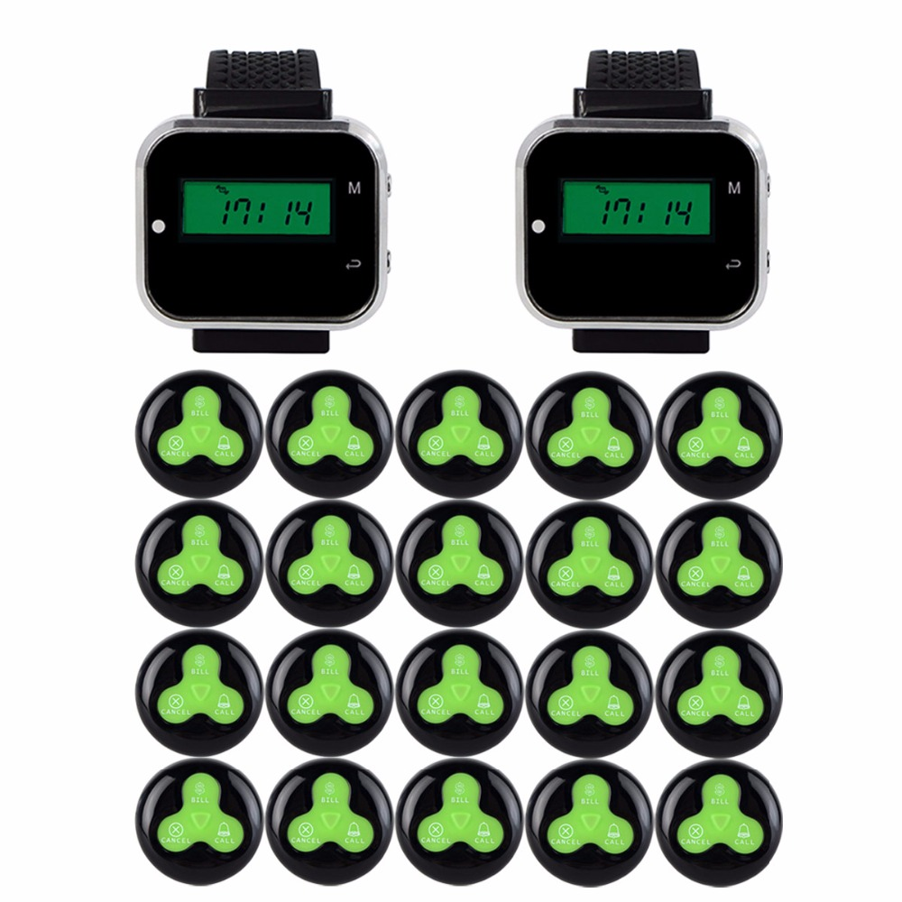 2 pcs 433MHz Wireless Pager Calling System Restaurant Equipment Factory Coffee Watch Wrist Receiver + 20pcs Call Button F3300A 999ch restaurant pager wireless calling system 35pcs call transmitter button 4 watch receiver 433mhz catering equipment f3285c