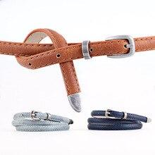 Harajuku Elegant Women Retro PU Leather Belts Adjustable Thin Metal Buckle Waist Belt For Jeans Dress Casual Waistband Strap