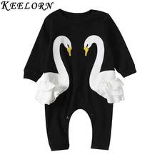 Keelorn Baby Rompers 2017 Autumn Baby Girl Clothes Cartoon Swan pattern long sleeve baby clothing Lace newbron clothes(China)