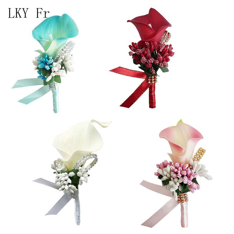 LKY Fr Corsage Boutonniere Pin Wedding Corsage Boutonniere For Groom Bridesmaid Flower Calla Lily Buttonhole Men Wedding Witness