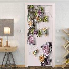 3D Embossed Rose Door Stickers Mural Living Room Door PVC Self-adhesive Waterproof 3D Wallpaper Home Door Decals Papel De Parede