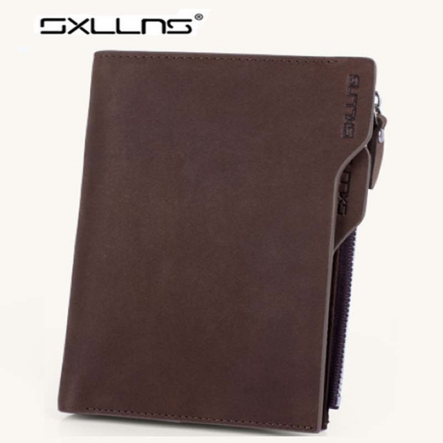 2017 Hot Men Wallets Famous Brand Genuine Leather Purse Solid Colors Casual Retro Mens Cowhide Short Wallet Credit Card Holder