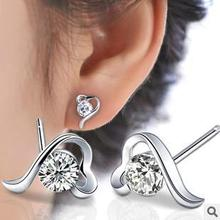 2015 New arrival bestsell shiny zircon crystal 925 sterling silver ladies`stud earrings jewelry gift promotion