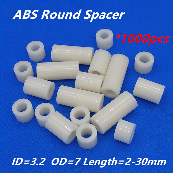 1000pcs M3 White Nylon ABS Round Hollow Non-Threaded Standoff Spacer PCB Board Screw Bolt Long Washer ID=3.2 OD=7