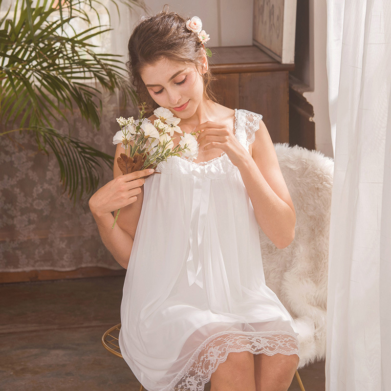 CFYH 2018 Women Dress Sexy Satin Sleepwear Lace V-neck Nightgown Sleep Nightdress Sexy Bow Female Sleeveless Nightie