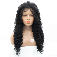 DLME African American Kinky Curly Afro Wigs For Black Women High Temperature Synthetic Lace Front Wigs with Baby Hair