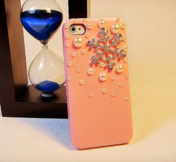 wholesale case for iphone 5  with beautiful Snow and pearl hard case free shipping