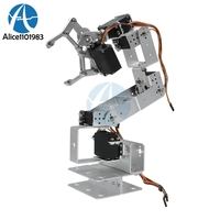 Manipulator ROT3U 6DOF Aluminium Robot Arm Mechanical Robotic Clamp Claw for Arduino Silver