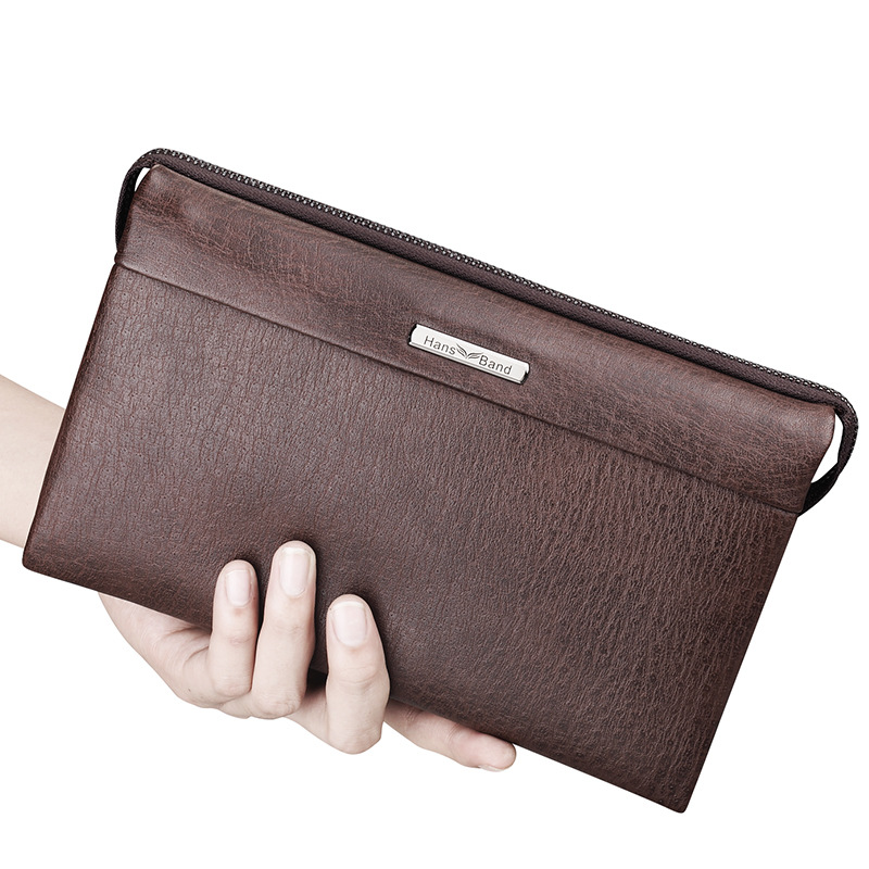 HANSBAND Vintage High Quality Luxury Genuine Leather Bag Casual Brand Handbags Large Capacity Business Men Clutch Bags hansband luxury brand men clutch wallet genuine leather hand bag classic multifunction mens high capacity clutch bags purses