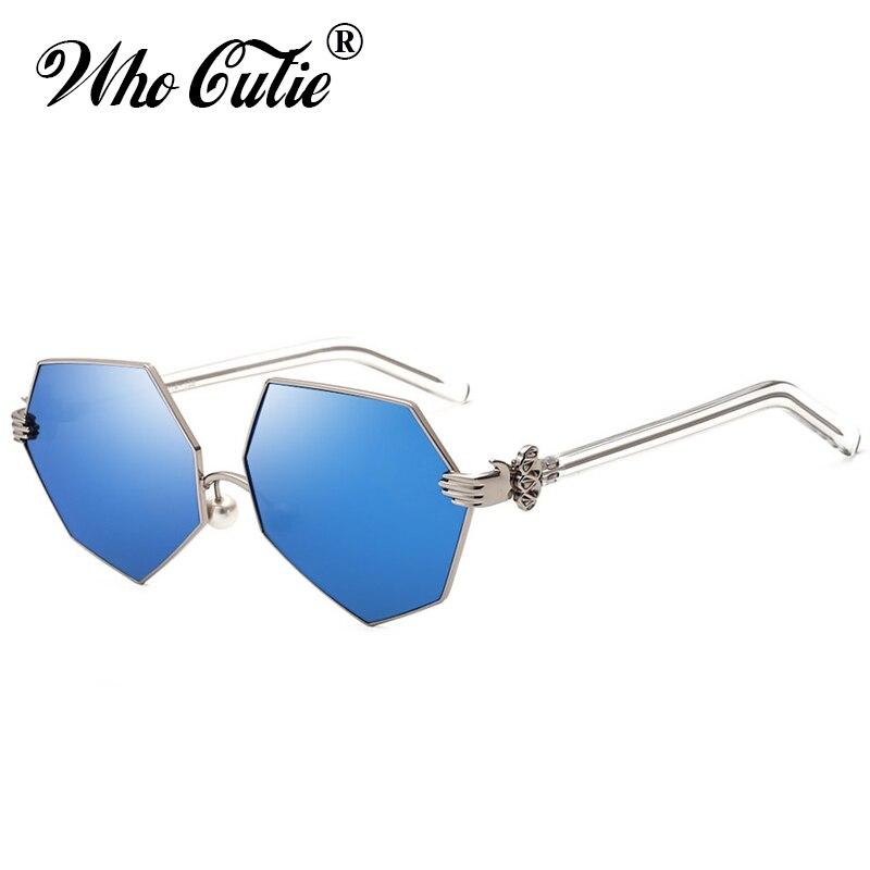 bc8684ea1605a QUE GRACINHA 2018 Palma Strass Hexagonal Plana óculos de Sol Das Mulheres  Designer De Marca Lente Tonalidade Clara Versae Óculos de Sol Shades OM352