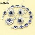 Moda 925 Conjuntos de Jóias de Prata Para As Mulheres Escuro Azul Safira Sintética CZ Branco De Casamento Extravagante Colar Anéis Brincos Pulseira