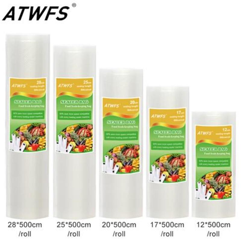 Food Grade Vacuum Bag Rolls Group For Household Vacuum Sealer Size: 12+17+20+25+28cm*500cm/Roll/Lot Vacuum Bags With RoHS / FDA