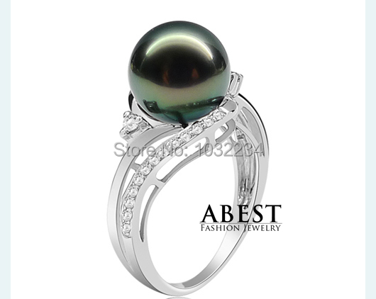Fashion 10mm Black Tahitian Pearl Center Silver Ring Professional Silver Ring Micro Setting 10mm Tahitian Pearl