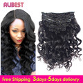 Loose Wave Clip In Human Hair Extensions 7A Loose Wave Human Hair Curly Hair Extensions Indian Virgin Hair Clip In Extension