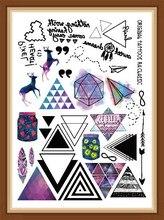 Style Multi-style Fashion Cool Temporary Tattoo Cartoon With Colorful Triangle 21x15cm Fake Tattoo Girl Boy Free Shipp