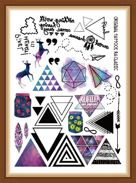 Style Multi-style Fashion Cool Temporary Tattoo Cartoon With Colorful Triangle 21x15cm Fake Tattoo Girl Boy Free Shipp