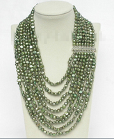 FREE SHIPPING>>>@@ > 17 24 8row baroque green pearls necklace 925 silver clasp ^^^@^Noble style Natural Fine jewe &