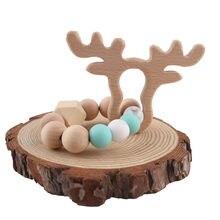 1 шт. деревянная игрушка-прорезыватель для зубов браслет с оленем игрушки-Жвачки материалы для пищевых продуктов деревянные бусины набор «сделай сам» Товары для малышей подарок для новорожденных детские игрушки