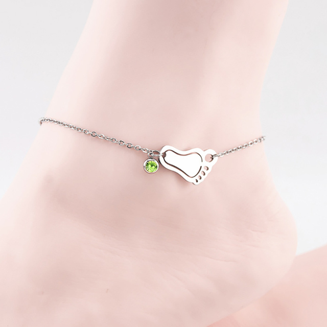 Ankle Bracelet Baby Birth Stones Charm Foot Stainless Steel Anklets Metal Leg For