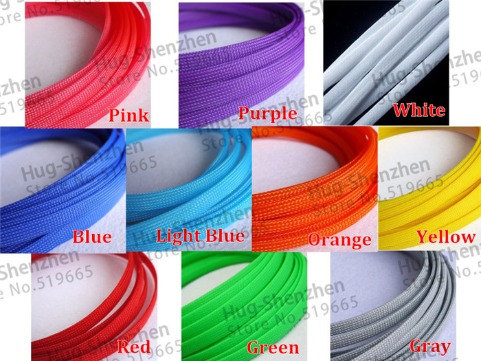 100M Cable Sleeves 10mm 10 Colors Snakeskin Mesh Wire Protecting Nylon Tight PET Expandable Insulation Sheathing