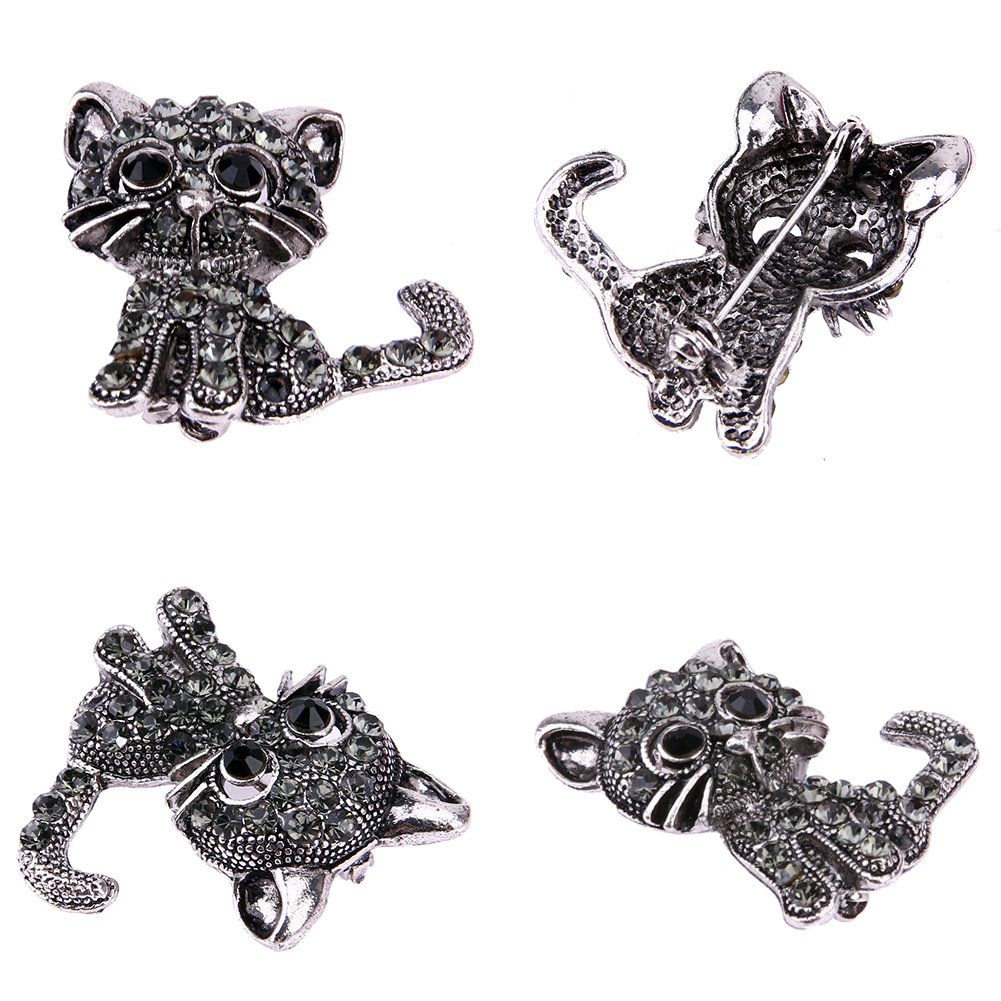 NEW VINTAGE BLACK CRYSTAL CUTE CAT BROOCH PINS-Cat Jewelry-Free Shipping NEW VINTAGE BLACK CRYSTAL CUTE CAT BROOCH PINS-Cat Jewelry-Free Shipping HTB1