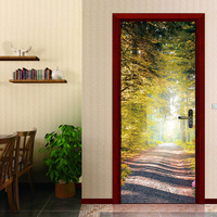 Creative DIY 3D Door Stickers Sunshine Boulevard Pattern for Room Wall Decoration Home Decor Accessories Large Wall Sticker