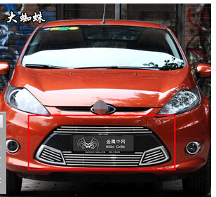 2009-2012 For Ford Fiesta Quality Stainless steel Car front bumper Mesh Grille Around Trim Racing Grills