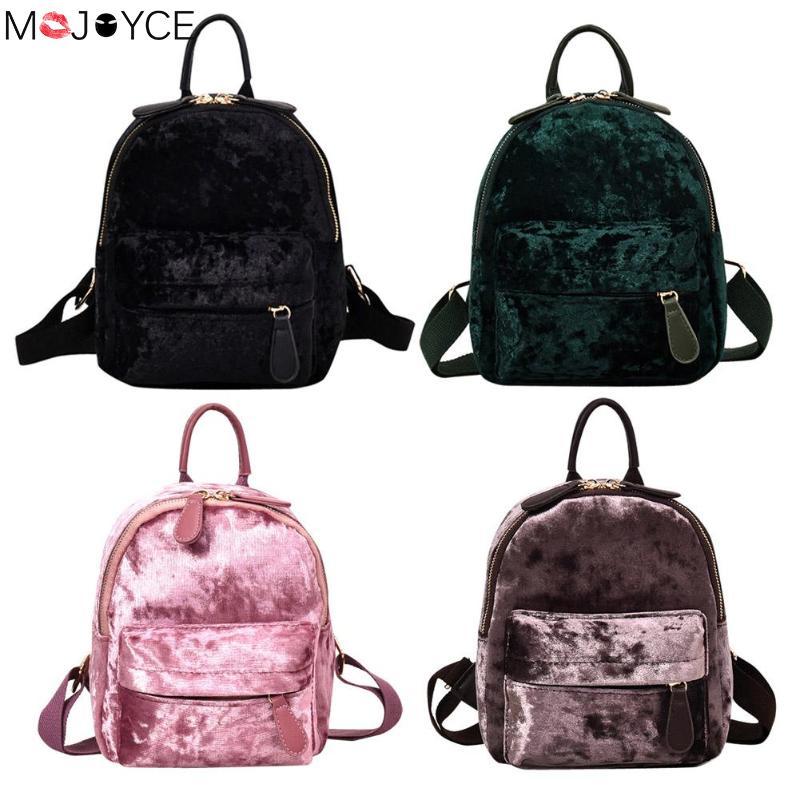 Women Soft Velvet Zipper Pure Color Backpack For Teenager Girls Small Travel Backpacks School Bags Feminina Female Shoulder Bags