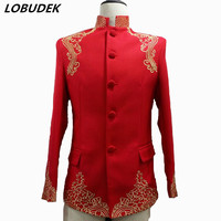 Male New Pattern Embroidery Slim Costume China Style Casual Coat Singer Dancer Host Show Party