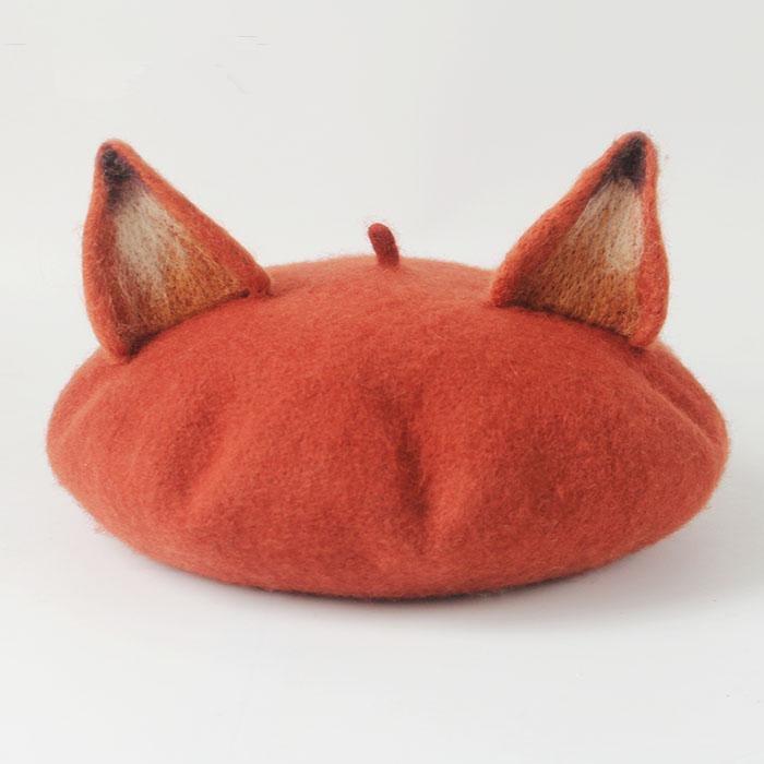 New Retro Women's Cute Fox Ear Beret