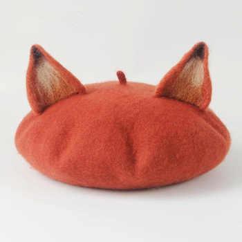 New Retro Women's Cute Fox Ear Beret Caps Wool Blend Casual Warm Painter Hat Handmade Nick Cat Ear Beret Hat Hot Gift - DISCOUNT ITEM  40% OFF All Category